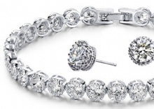 Tennis Bracelet and Earrings Set
